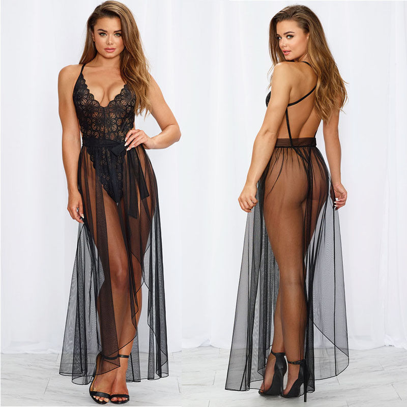 Summer Women Sexy Lingerie Sleeveless Sleepwear Body Stocking Lace Teddy Babydoll Nightwear   Pajama     Sets   Plus Size