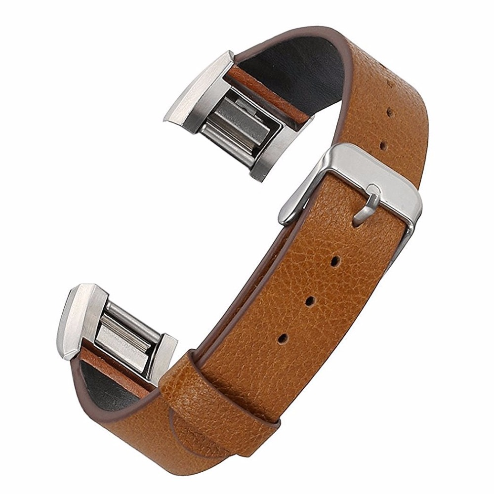 2016 New Genuine Leather Soft Wrist Band Watch Strap For Fitbit Charge 2 Tracker Large Small Bracelet Replacement Acessory genboli genuine leather wrist band watch strap for fitbit charge 2 smart bracelet replace watchband with steel buckle