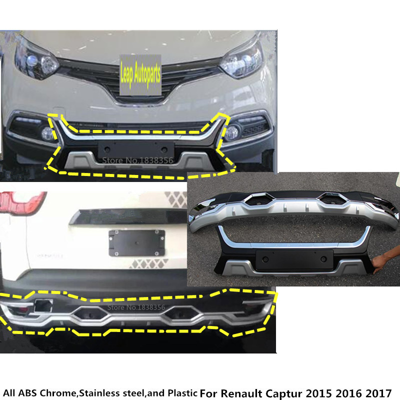 High quality For Renault Captur 2015 2016 2017 ABS+Plastic Front/Back rear Bumper tailgate pedal Strip trim plate lamp threshold car universal auto suv bumper guard stickers protector 3d streamline soft plastic decorative trim for renault captur