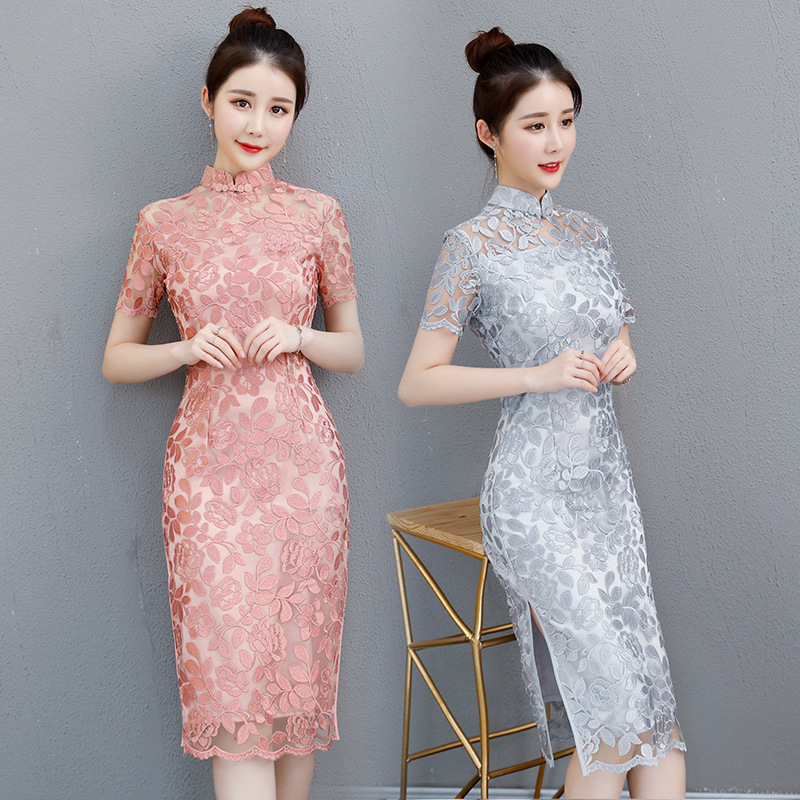 Sexy Cheongsam Vintage style chinois dentelle Qipao nouveau femmes été élégant mince robe de soirée Vestido taille S M L XL XXL XXXL