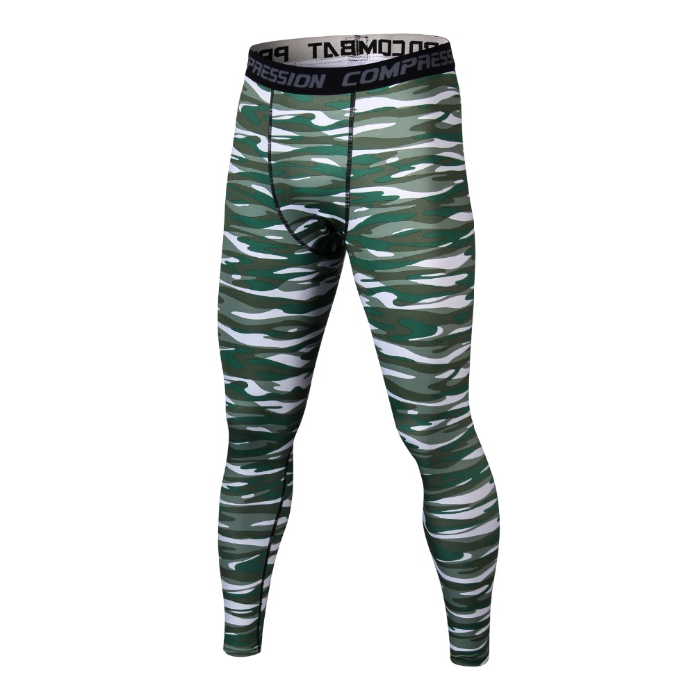 2017 New Mens MMA Leggings Pro Compression Pants Camouflage Print High Elastic Tights Leggings