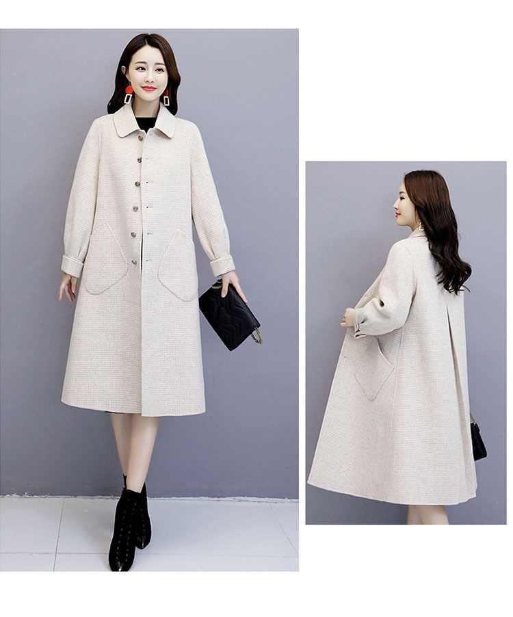 Suitable for women Woolen coat female Autumn Winter New fashion lattice womeSuin's cashmere coat popular elegant women coats 751