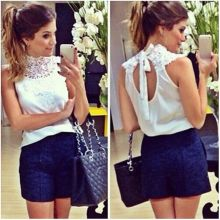 Women White Lace Blouse Sleeveless Backless Blusas Femininas Camisas Branca Feminino Feminine Shirts Festa LQW851