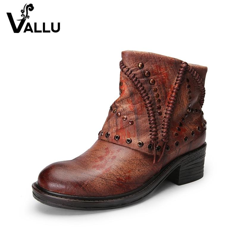 Leather Short Boots Women Shoes New Arrival Genuine Leather Ladies Shoes Handmade Vintage Rivet Mixed Color Women