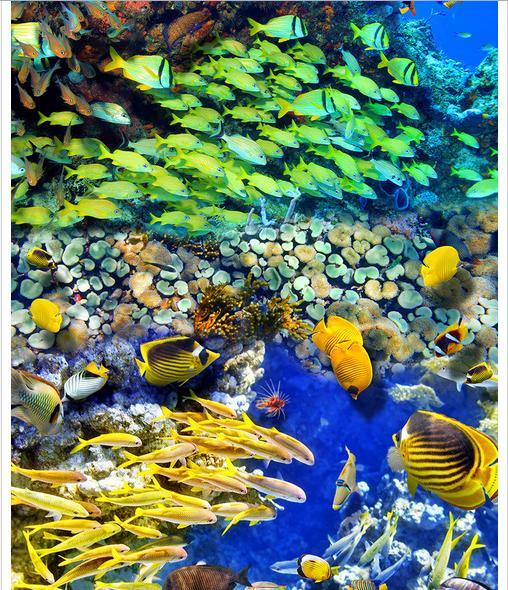 ФОТО Custom photo Waterproof floor wallpaper The bottom of the sea in fish 3d mural PVC wallpaper self-adhesion floor wallpaer