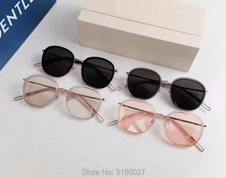 Gentle Luxury Brand Designer V Korea Ollie Sunglasses Vintage Round Men Sunglasses Women Mirror Lens UV400 Gafas Oculos De Sol