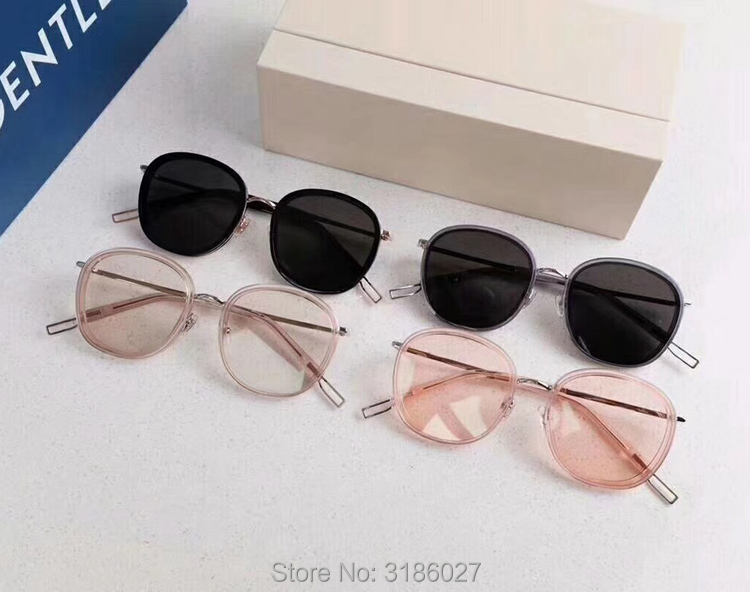 Gentle Luxury Brand Designer V Korea Ollie Sunglasses Vintage Round Men Sunglasses Women Mirror Lens UV400 Gafas Oculos De Sol