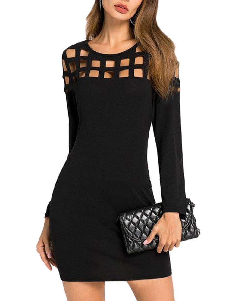 mrwonder Women Fashionable Slim Design Round Collar Dress Grid Design Long Sleeve Dress