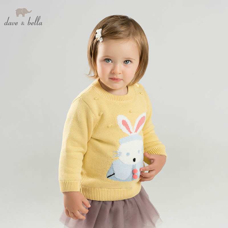 DBJ9159 dave bella baby girls yellow rabbit sweater children knitted sweater kids autumn pullover toddler boutique tops rabbit print pullover