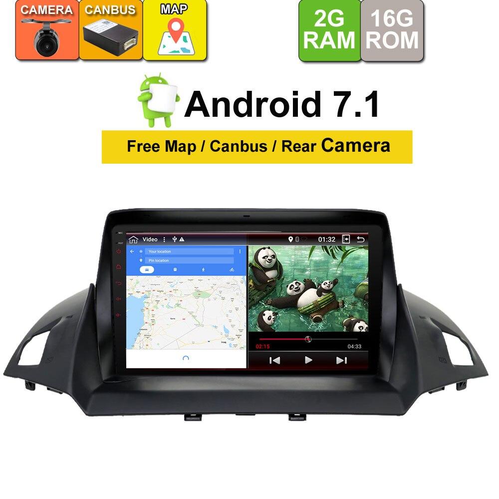 Android 7.1 unité autoradio stéréo Audio GPS navigateur dvd lecteur multimédia Intelligent pour Ford Kuga 2013 2014 2015 2016 2017