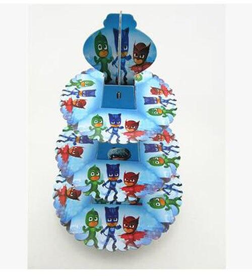 Pjmasks бумаги 3 уровня кекс подставка-держатель день рождения украшения