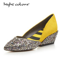 Women Pumps Bling High Heel Women Shoes Glitter Extrem Wedges Sexy Shoes Woman Wedding Shoes YELLOW Purple Ladies Shoes