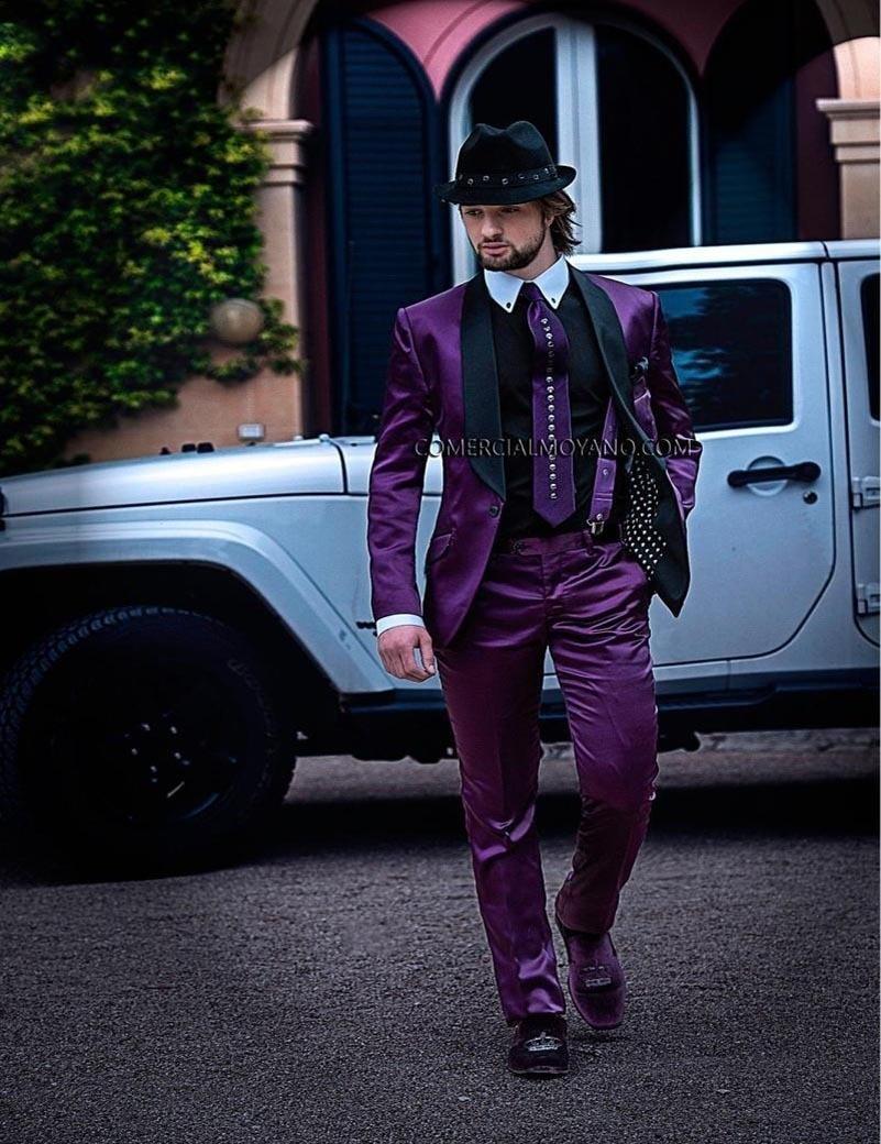 Développé Homme Violet Marié Mesure Meilleur 2017 Sur Spectacle CravateBrown Pantalon Satin multi Fraisveste De Smokings Mode Hommes Mariage Costumes Yvbf76yg