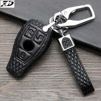 Casos chaves do carro de couro genuíno para mercedes benz w203 novo e classe e200 e260 e300 e320 w213 remoto keyless chave capa saco fob escudo|Estojo de chaves p/ carro| |  -