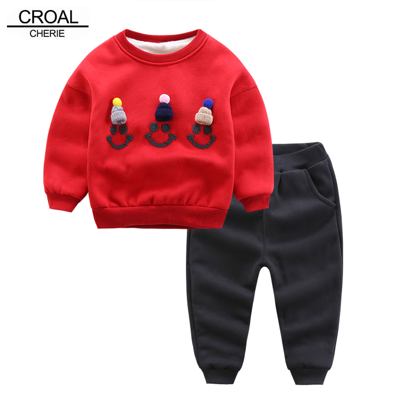 CROAL CHERIE 90-130cm Velvet Hoodies + Pants Kids Clothes Baby Boys Girls Winter Children Clothing Sets Tracksuit For Boys Coat