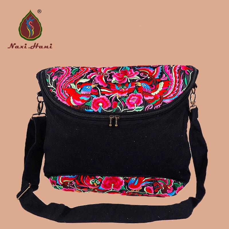 Bolsos bordados de mujer Bolsos de lona de lona negro étnico patrón de vinatage bolsas de mensajero