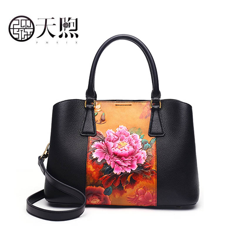 Pmsix handmade leather handbag 2019 new fashion atmospheric flower head leather cowhide national wind handbagPmsix handmade leather handbag 2019 new fashion atmospheric flower head leather cowhide national wind handbag