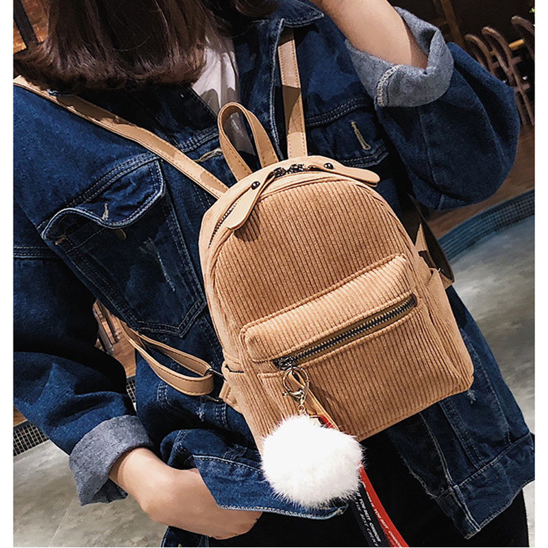 INHO CHANCY Japan Style Fashion Corduroy Mini Backpack For Adolescent Girl Sac Solid Female Travel School Bag Mochila Feminina adolescent