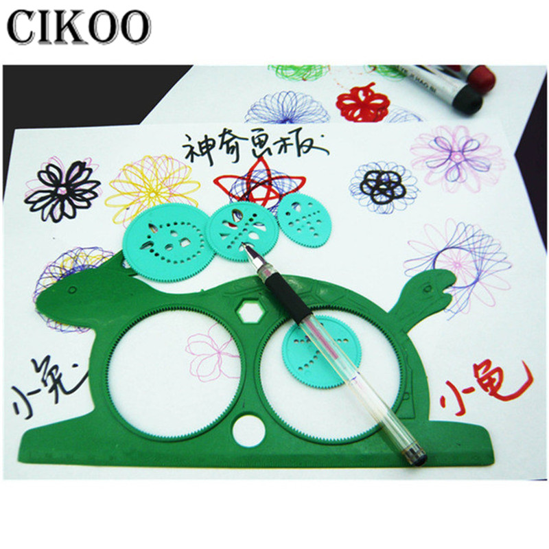 CIKOO Newest Spirograph Magic Turtle Rabbit Sketchpad Kids Gift Drawing Board Educational Toys Mat Magic Pen Educational Toy