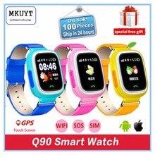 Q90 дети GPS телефон позиционирования Смарт часы 1.22 дюймов Цвет Сенсорный экран SOS наручные PK Q50 Q80