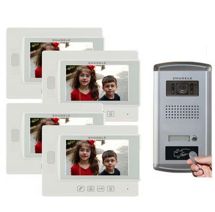 ZHUDELE Home Security Intercom Audio Doorbell 4X7 Video Door Phone Monitor FRID Panel IR Camera w/t Waterproof Cover in stock