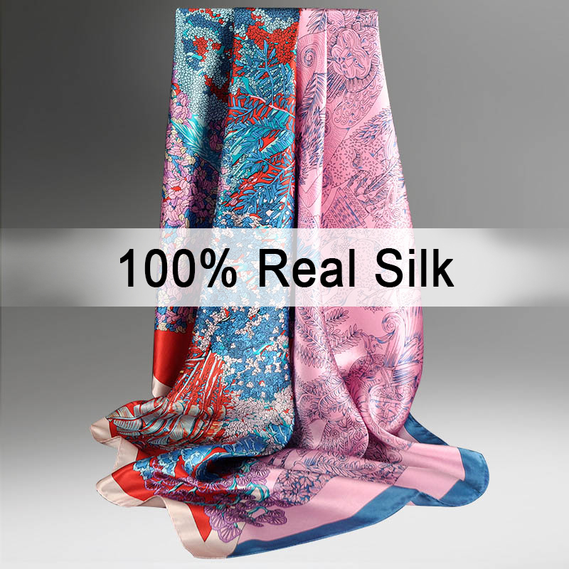 100% Silk   Scarf   90*90cm Women 2018   Wraps   Headscarves Hijab for Ladies Print Bandana Muffler Luxury Brand Pure Silk   Scarf   Square