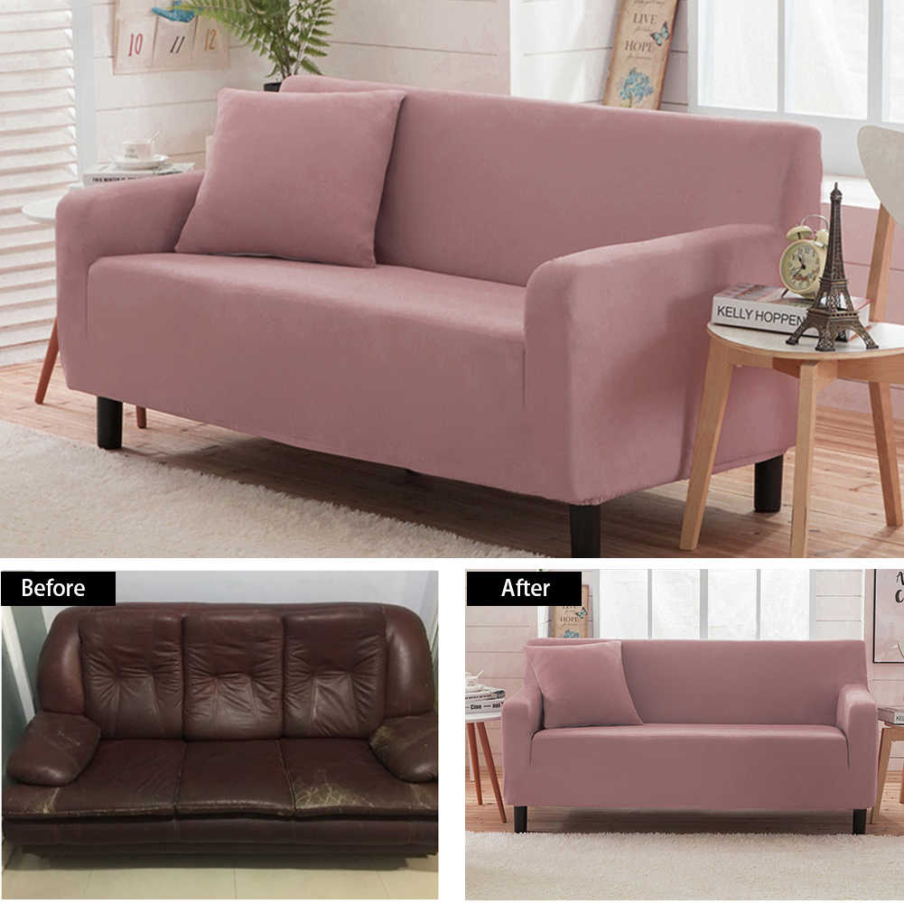 Universal Solid Polar Fleece Stretch Sofa Covers Super Soft Elastic Furniture Protector Loveseat Couch Cover