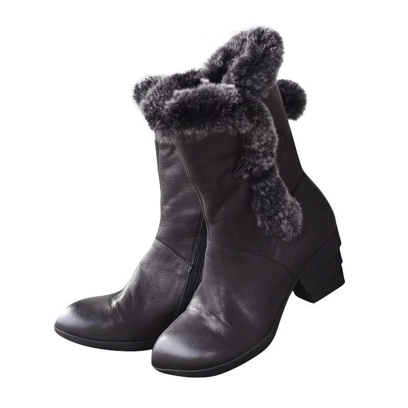 Mi Noir Femmes Cuir En Velours D'hiver Claf Talon Bottes Épais L'intérieur Xiangban À Black Marque Chaussures Femelle Haute AwvFIq8