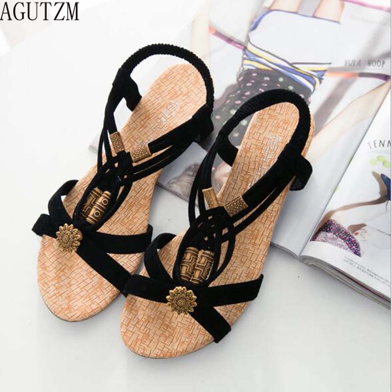 AGUTZM  Women's sandals Shoes Women Wedge Sandals Summer Women Shoes New Ankle-strap Gladiator Sandals Women Ladies Shoes V61 phyanic platform gladiator sandals 2017 new casual wedge shoes woman summer women ankle boots side zipper party shoes phy5036