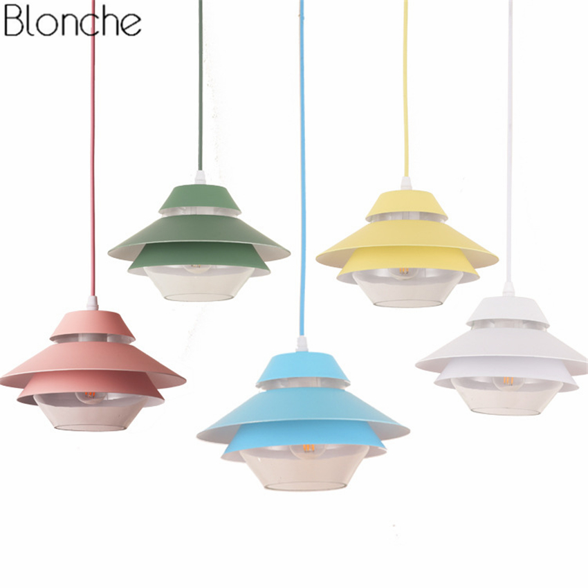 Nordic Macarons UFO Pendant Lights LED lamps Aluminum Glass Hanging Lamp for Living Room Bedroom Restaurant Home Lighting Decor цена 2017