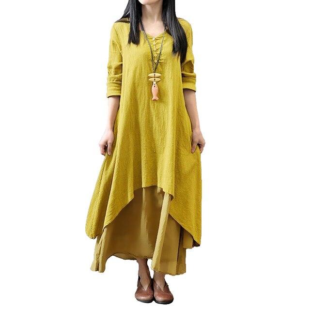 2019 אביב סתיו מקסי שמלת נשים מקרית Loose שמלת מוצק ארוך שרוול כותנה רטרו Boho ארוך שמלה בתוספת גודל רטרו robe Femme