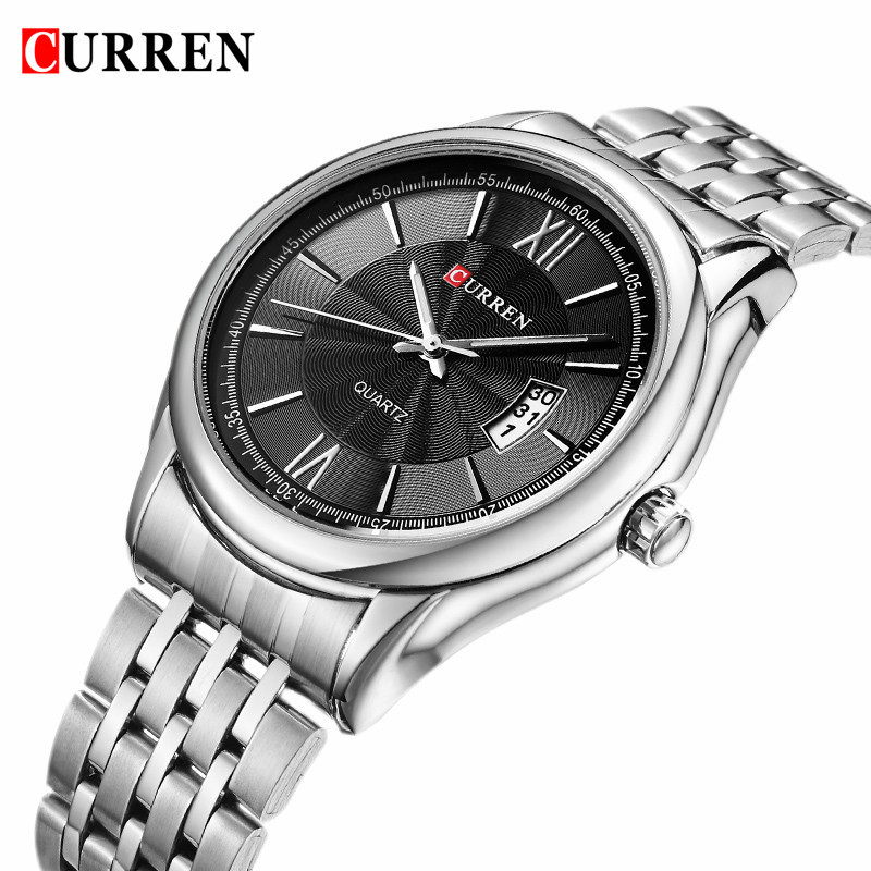 CURREN Luxury Brand Quartz Watch For Men Business Watches Full Steel Calendar Fashion Mens Wristwatch Waterproof Sport Clock Men curren watches mens brand luxury quartz watch men fashion casual sport wristwatch male clock waterproof stainless steel relogios