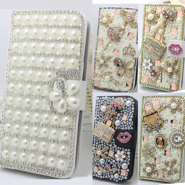 sports shoes 5fddc 5e6f2 US $9.73 8% OFF For iPhone 8 Plus Elegant Bling Crystal Diamonds Pearls PU  Leather Flip Slots Stand Wallet Case Cover Mini Handbag Phone shell-in ...