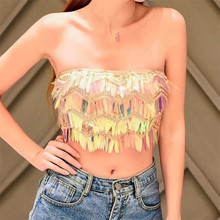Multi Colors Strapless Tube Tops Shiny Wavy Sequins Women Crop Top Rave Festival Tank Top Beach Sleeveless Vest Party Clubwear