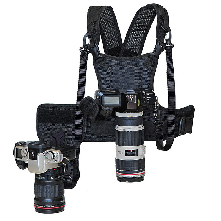 Carrier II Multi Dual 2 Camera Carrying Borst Harnas Systeem Vest Quick Strap Met Side Holster Voor Canon Nikon Sony Pentax DSLR