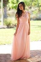 2018 Long Chiffon Sexy Lace Bridesmaid Dresses Pink Sage Wedding Party Dresses Country Bridesmaid Gowns Vestidos de Plus size