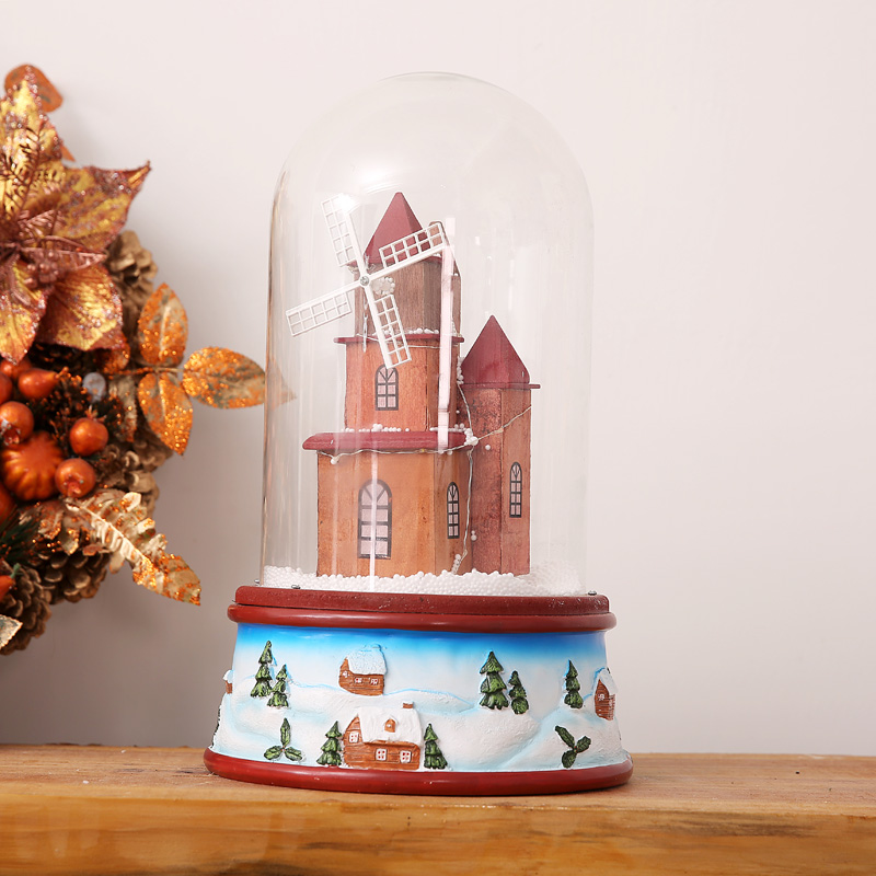 Venda quente mais novo 2019 presentes de natal com luzes de música flutuante cobertura de vidro de neve romântica véspera de natal pacote de presente correio - 4