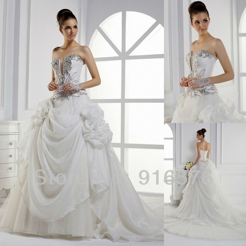 Dresses new 2013 ruffle wedding dress with long train for Strapless wedding dresses with long trains