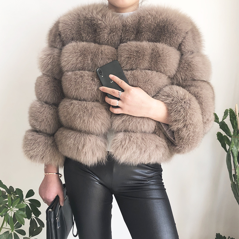 2019 new style real fur coat 100% natural fur jacket female winter warm leather fox fur coat high quality fur vest Free shipping 75