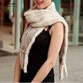 Зимних женщин Реального норки Шарф Хорошее качество трикотажные wrap кабо Грелки Шеи Пончо Шаль подлинная норки шарф TFP602