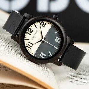 Image 2 - BOBO BIRD Ebony Wood Watch Men Timepieces Leather Strap Quartz Watches relogio masculino Mens Gifts Accept Logo Drop Shipping