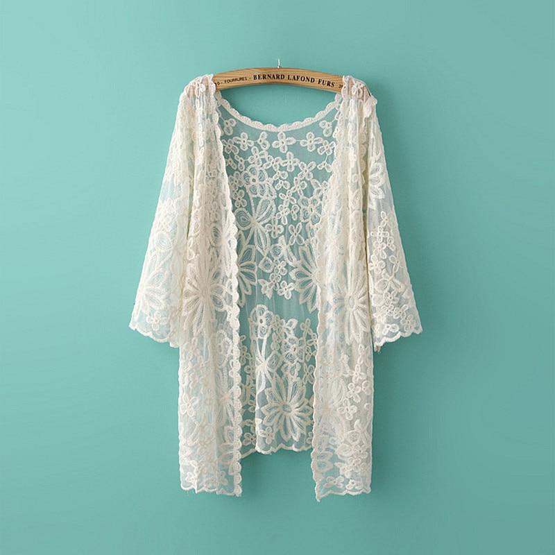 Tops de encaje de algodón para mujer, bordado floral lindo y lindo, chaquetas de encaje finas de verano, transparentes, a prueba de sol, cubren a mori girl