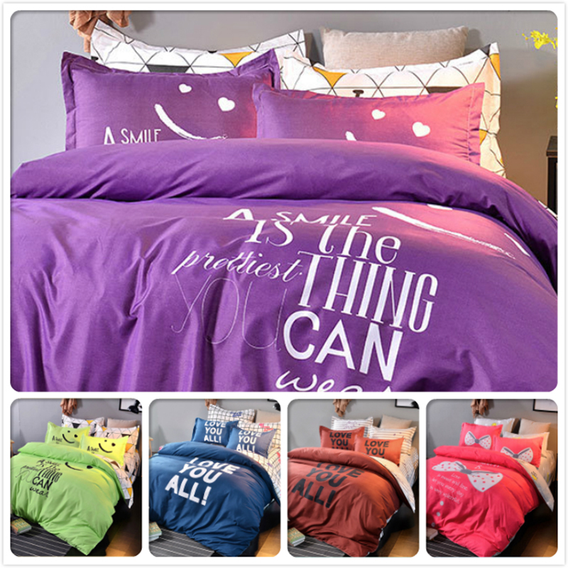 Sincere Child Kids Bedclothes 3/4 Pcs Bedding Set Smile Face Letter Bedlinens King Queen Double Size Duvet Cover 1.5m 1.8m 2.0m Bedsheet Famous For High Quality Raw Materials Full Range Of Specifications And Sizes And Great Variety Of Designs And Colors