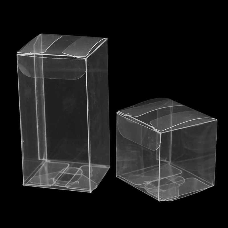 10 ピース/ロット透明ボックス結婚式の好意パーティーイベントの装飾クリアギフトキャンディーボックス正方形pvcチョコレートバッグ