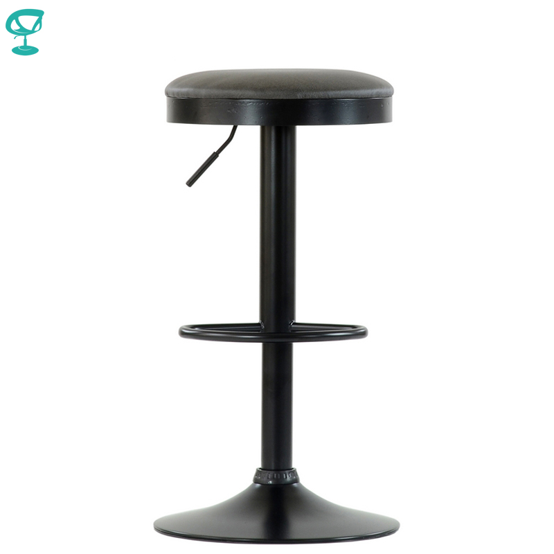 95569 Barneo N-129 FPU Leather Kitchen Chair Breakfast Bar Stool Swivel Bar Chair Gray Color Black Leg Free Shipping In Russia
