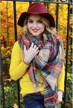 140x140cm Za winter acrylic cashmere tartan plaid scarf brand blanket shawl desigual pashmina wrap stole for Lady Women Girl