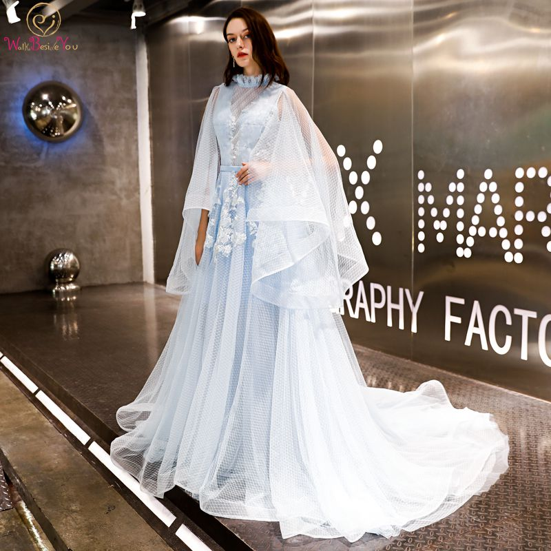 Walk Beside You Sky Blue   Prom     Dresses   High Neck with Wrap Dot Tulle Lace Appliques Sweep Train Keyhole Back Evening Gowns 2019