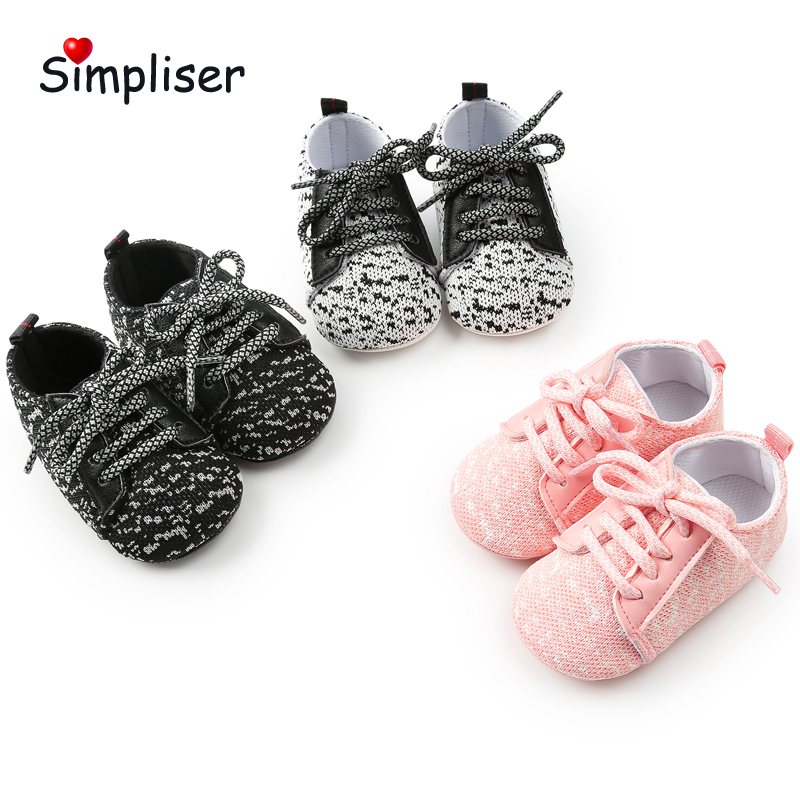 Breathable Sneakers For Newborn Baby Girls Boys Soft Sole Anti-slip Casual Shoes Lace up Infant Toddler Shoes Walking Shoes BB