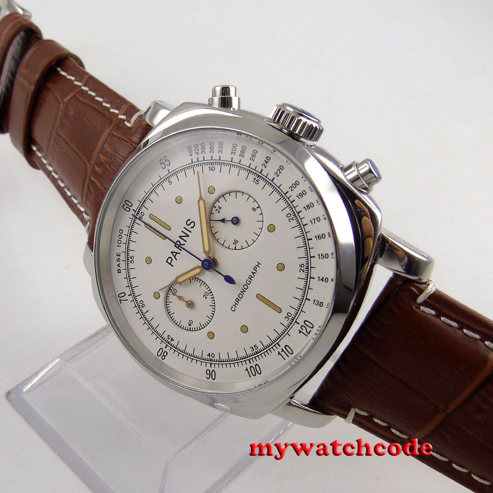 44mm Parnis white dial brown leather full Chronograph quartz mens watch 613 цена и фото