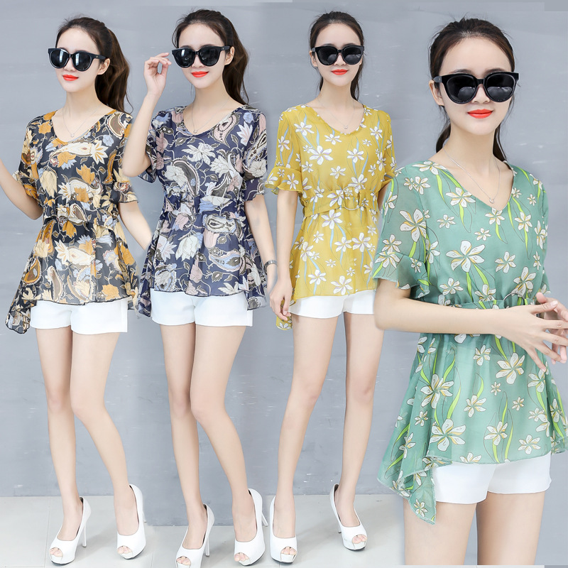 New Fashion Women Collect Waist Printed Short Sleeve Chiffon Blouses Shirts in Blouses amp Shirts from Women 39 s Clothing